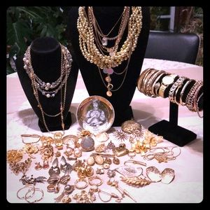 79 PC gold tone jewelry lot-many signed